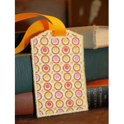 Travel Accessories Orange Circle Fabric Bag Tag with Vinyl Pocket, Id Card, and Snap Closure