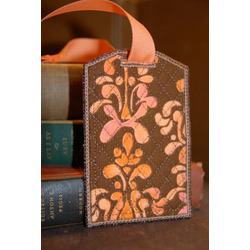Travel Accessories Brown Abstract Fabric Bag Tag with Vinyl Pocket, Id Card, and Snap Closure