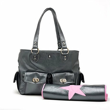 Cargo Diaper Bag in Metallic Black