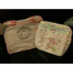 2 CARE BEARS PINK BABY DIAPER BAG LARGE AND SMALL