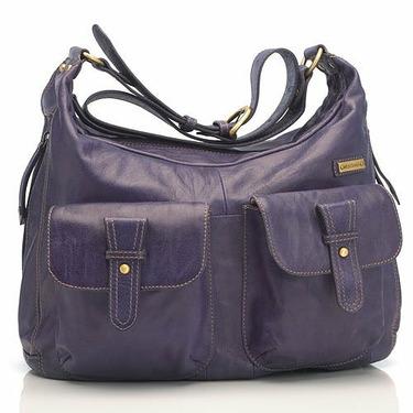 Emily Leather Diaper Bag Purple