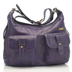 Emily Leather Diaper Bag Purple