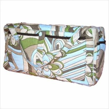 Retro Flowers Quilted Diaper Bag in Blue, Green and Chocolate