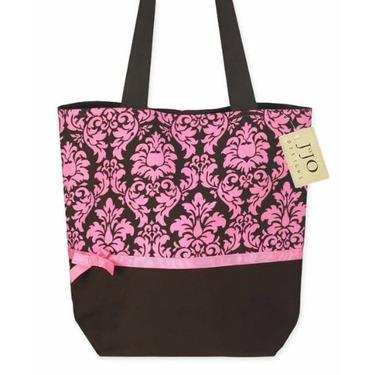 Pink and Espresso Brown Damask Print Tote Handbag (Great for Diaper Bag, Tote Bag, Purse or Beach Bag)