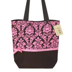 Pink and Espresso Brown Damask Print Tote Handbag (Great for Diaper Bag, Tote Bag, Purse or Beach Bag)