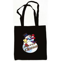 Snowman Merry Christmas Tote Bag Black