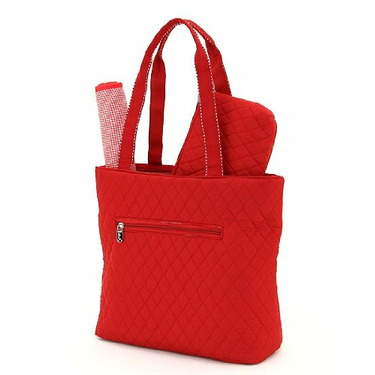BELVAH - Quilted 3-Piece Monogrammable Diaper Bag with Saddle Stitched Ribbon Accents - Red