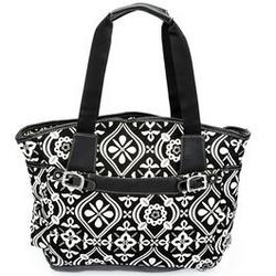 Baby Essentials Black, White & Tan Printed Bucket Bag