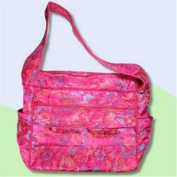 Purple Flowers Silk Boutique Diaper Bag