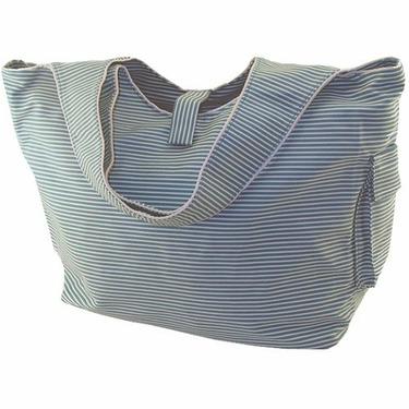 Striped Teal Cotton Twill Diaper Bag