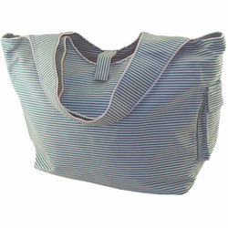 Striped Teal Cotton Twill Diaper Bag