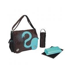 Eleanor Messenger Diaper Bag in Egret Chocolate
