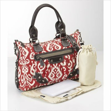 Ikat Pompeian Tapestry Slouch Tote Diaper Bag in Red