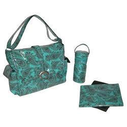 Peggy Paisley Turquoise Laminated Buckle Diaper Bag