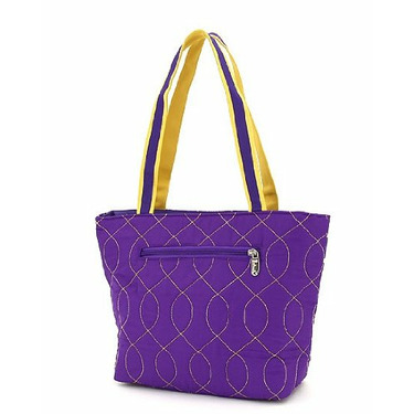 Belvah - Quilted Monogrammable - Wave Stitched Tote - Purple & Yellow