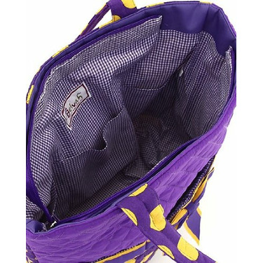 BELVAH - Large 3 Piece Quilted Monogrammagle Diaper Bag - Purple & Yellow