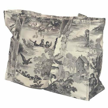 Charcoal Toile Tote Diaper Bag