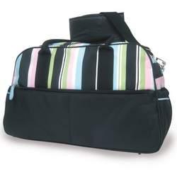 Baby Essentials Microfiber Striped Diaper Bag in Black