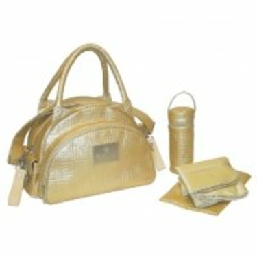 Quilted Traveler Diaper Bag in Gold