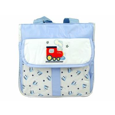 Tender Kisses Blue Train Cooler Diaper Tote Bag
