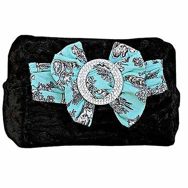 Spoiled Little Mama Brown Faux Fur Blue Paisley Bow Diaper Bag