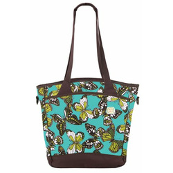Sling Tote Diaper Bag in Teal Butterfly