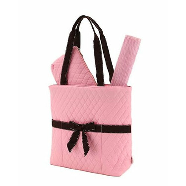 BELVAH - Quilted Monogrammable 3 Piece Diaper Bag - Pink with Chocolate Saddles Striped Ribbon & Bow