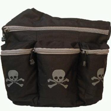 Diaper Dude Diaper Bag, Black Skull and Bones #100S