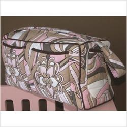 Retro Flowers Quilted Diaper Bag in Pink and Chocolate