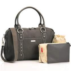 Elizabeth Leather Diaper Bag (Gray)