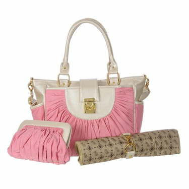 Pink Canvas & Pearl Leather Designer Diaper Bag for Girls - Best Selling Gift for New Mom's