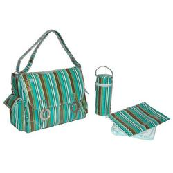 Coated Double Buckle Diaper Bag in Seaside Fun Stripes