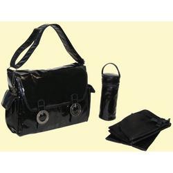 Coated Double Buckle Diaper Bag in Black Corduroy