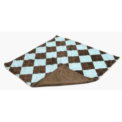 Gentle Kids wear Mnb _Aa- B Mini-Blanket - Argyle Aqua and Brown
