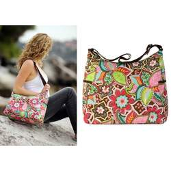 Pink Floral Bouquet Hobo Messenger Diaper Bag by OiOi