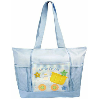 Tender Kisses Blue Little Truck Tote Diaper Bag