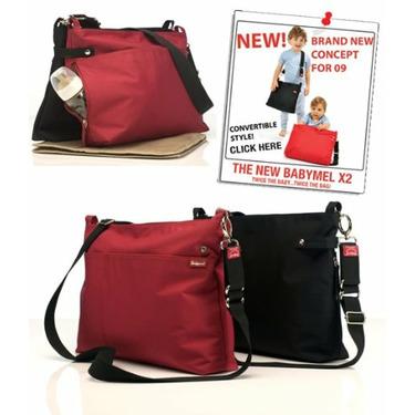 BabyMel X2 Diaper Bag - Black & Black Twin
