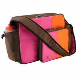 O Yikes Messenger Diaper Bag - Tangerine/ Raspberry