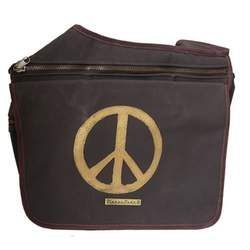 Diaper Dude Messenger Diaper Bag in Brown Faux Suede Peace Sign