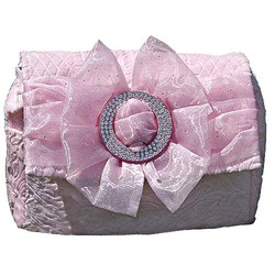 Spoiled Little Mama Pink Chenille Fairy Dust Bow Diaper Bag