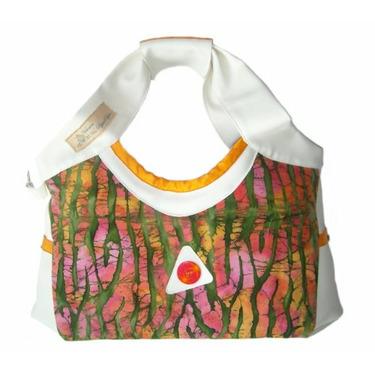 YELLOW SUBMARINE batik dye diaper bag by Victorien Von Pippenpuppen