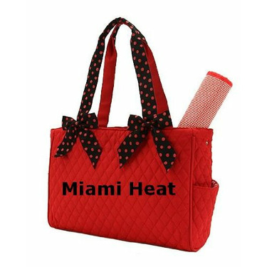 Miami Heat Red and Black Monogrammed Basketball Diaper Bag with Changing Pad