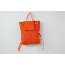 Burnt Orange Back Pack / Baby Bag, Gingam Trim