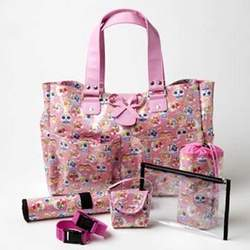 Chic Sophie's Pink Carry All Baby Diaper Tote Bag with Skull Design - Great Baby Shower Gift Idea