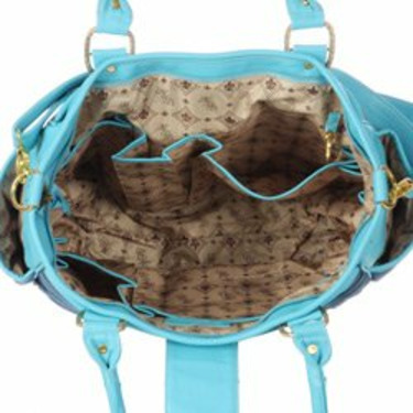 Designer Denim & Turquoise Leather Unisex Diaper Bag - Best Selling Gift for New Mom's