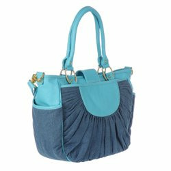 Designer Denim & Turquoise Leather Unisex Diaper Bag - Best Selling Gift for New Mom's