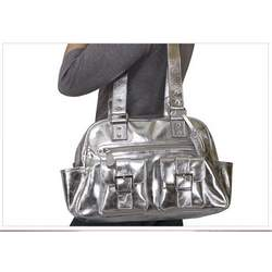 Sheri Genuine Leather Diaper Bag from Baby Kaed - SILVER
