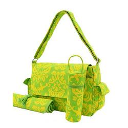 Damask Canvas Lemon Twist Messenger Diaper Bag
