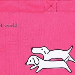 Super Lover Cute Dog Tote Handbag Canvas Bag Fuchsia S8