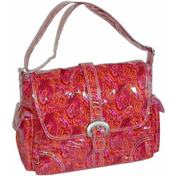Laminated Buckle Bag Multi Stripes Chocolate-Blue